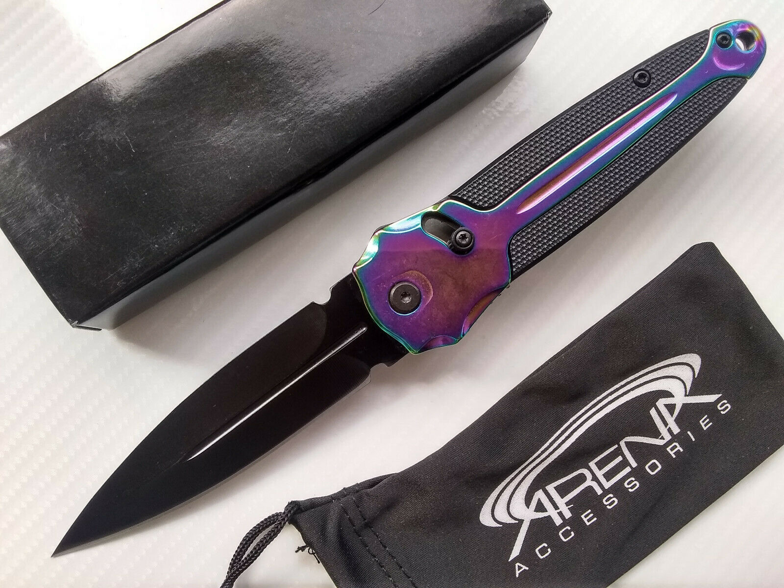 Slide Assist Rainbow Spear Point Folding Pocket Knife with Deep Carry Clip Unique Model