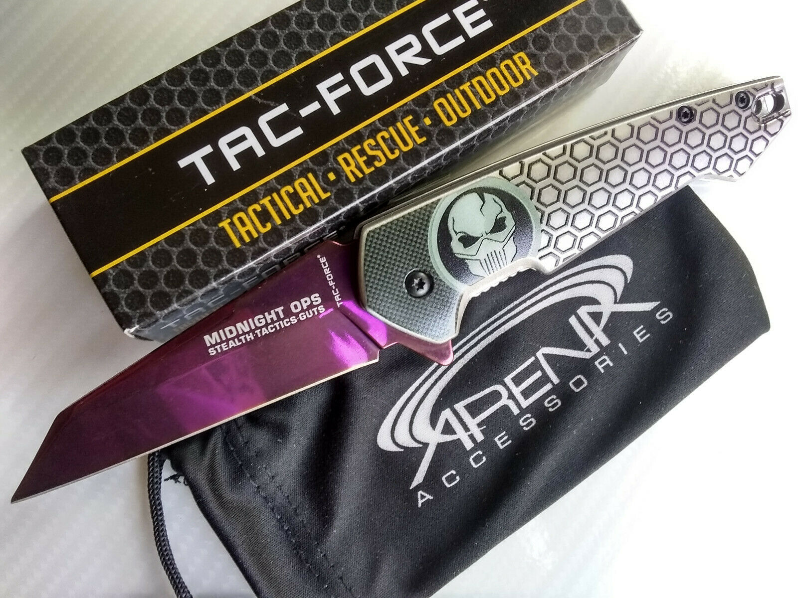 Purple Ti Framelock Flipper Bane Knife Sheepsfoot Reverse Tanto EDC Deep Carry Pocket Clip