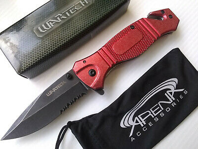 Red Stonewash Glass Breaker Pocket Knife Spring Assist Flipper Metal EDC Tool