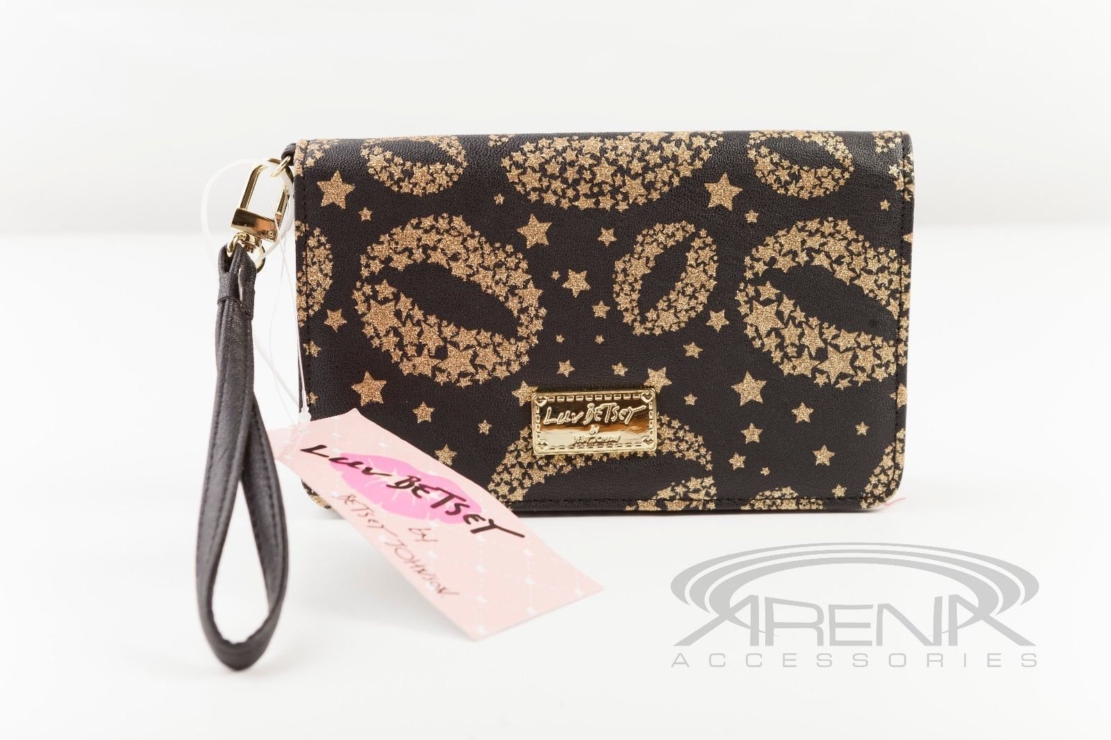 Luv Betsey Johnson Wristlet Wallet Clutch Phone Case -Multiple Styles- Gold Lips