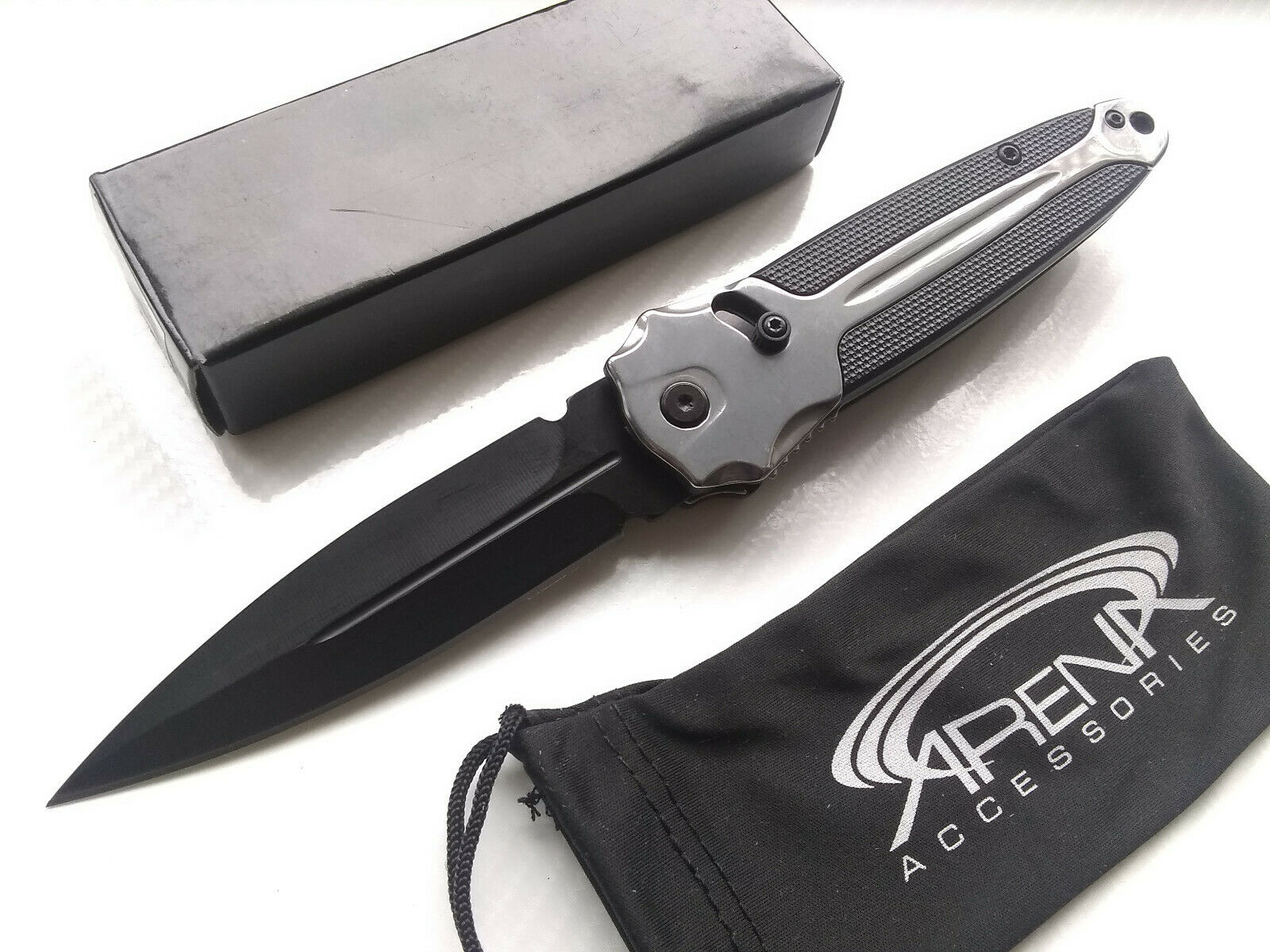 Unique Slide Assist Silver Spear Point Folding Pocket Knife with Deep Carry Clip
