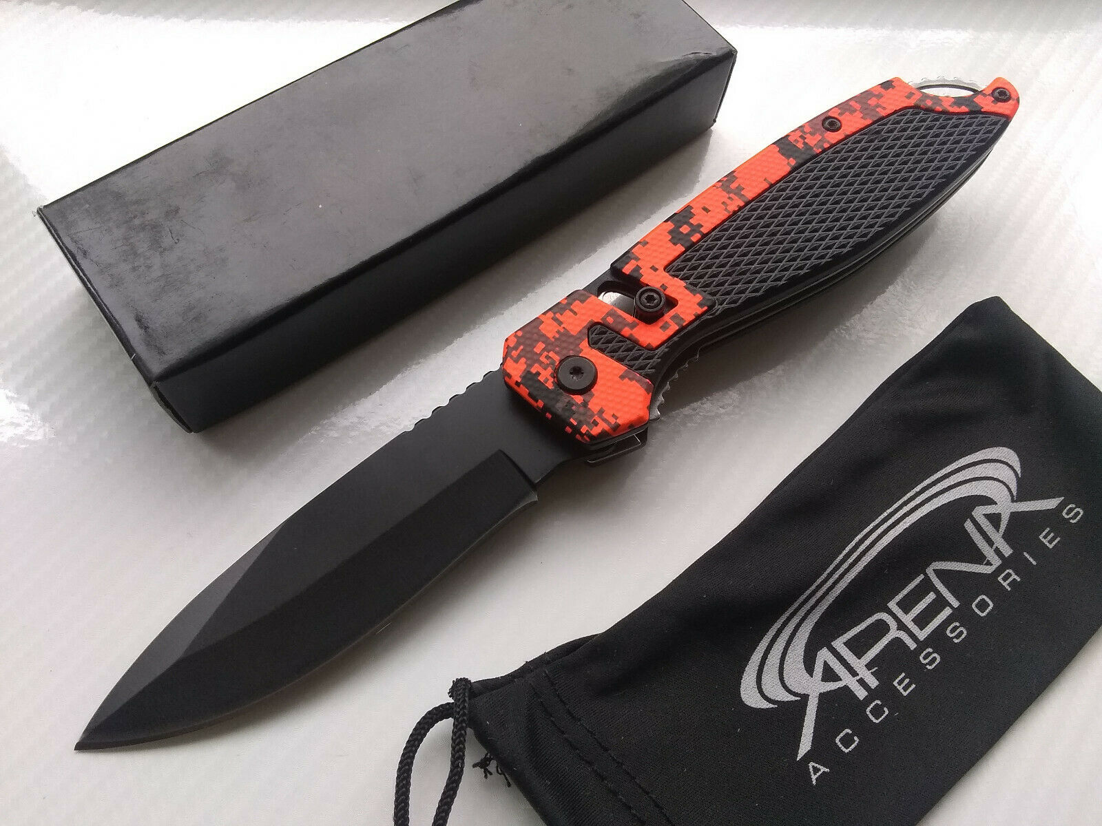Unique Orange Digital Camo Slide Assist Pocket Knife Lightweight Spring Assisted Folder