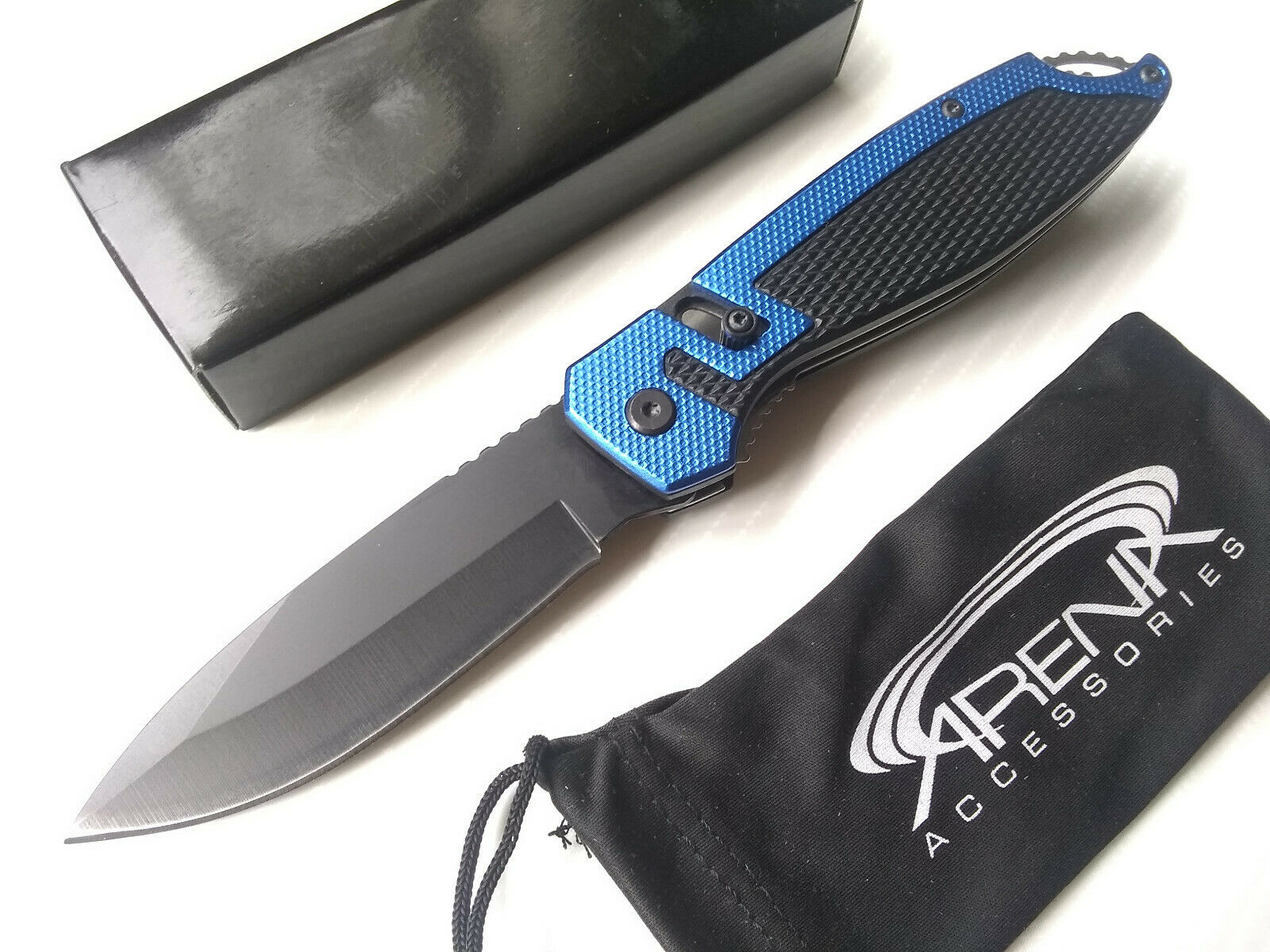 Wartech Unique Slide Spring Assisted Folding Pocket Knife Blue Lightweight EDC