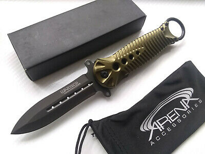 Wartech Karambit Finger Ring All Metal Spring Assist Pocket Knife EDC Spear Point Blade Army Green