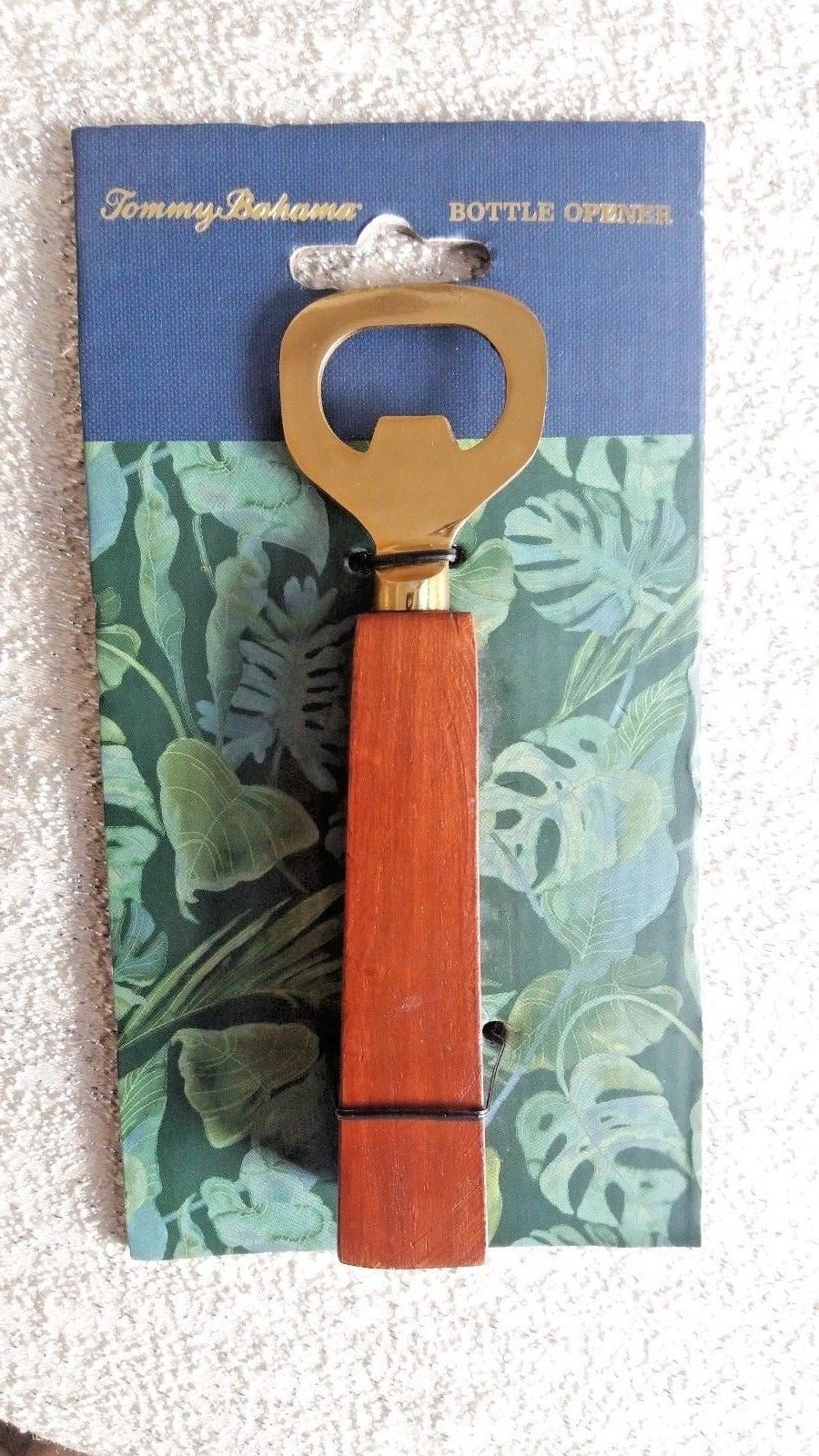 TOMMY BAHAMA Bottle Opener w Wood Handle & Brass BBQ Craft BEER Bar Tool NEW