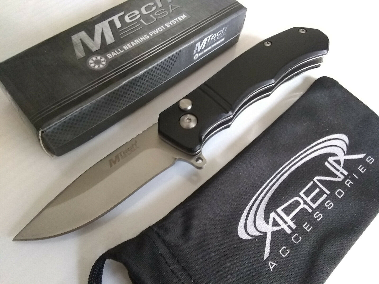 MTech Black Manual Button Lock Pocket Knife Drop Point Blade Anodized Aluminum Handle