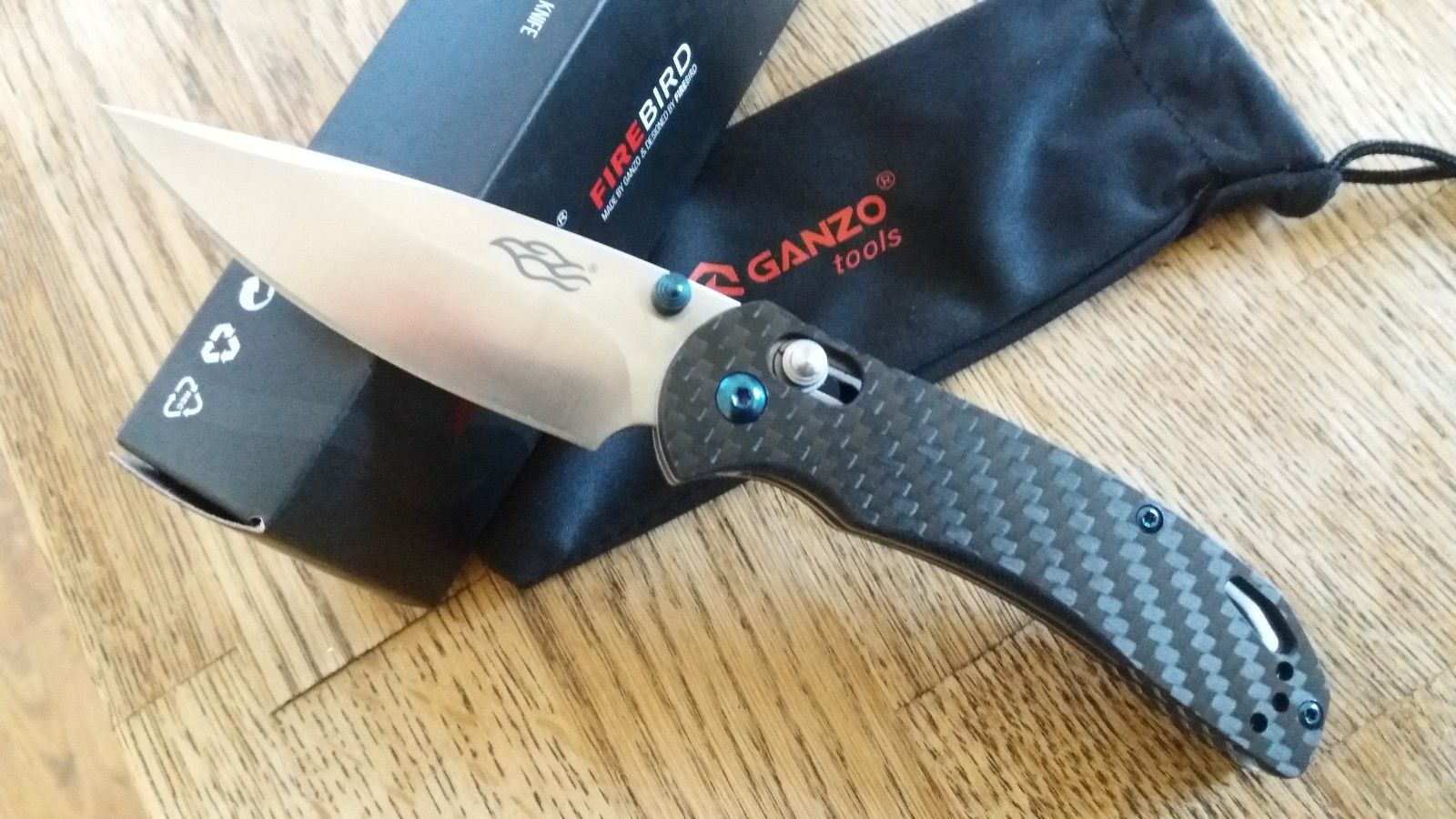 GANZO Firebird F753M1-CF EDC Pocket Knife REAL Carbon Fiber Axis Lock SHIPS FAST
