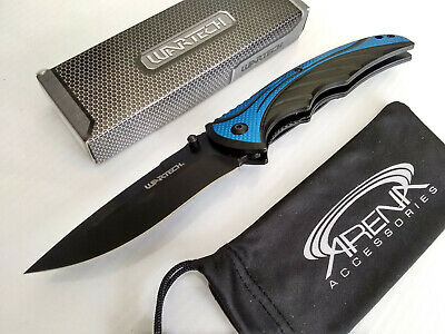 Wartech Blue/Black All Metal Spring Assisted Pocket Knife EDC Liner Lock Dual Thumstuds