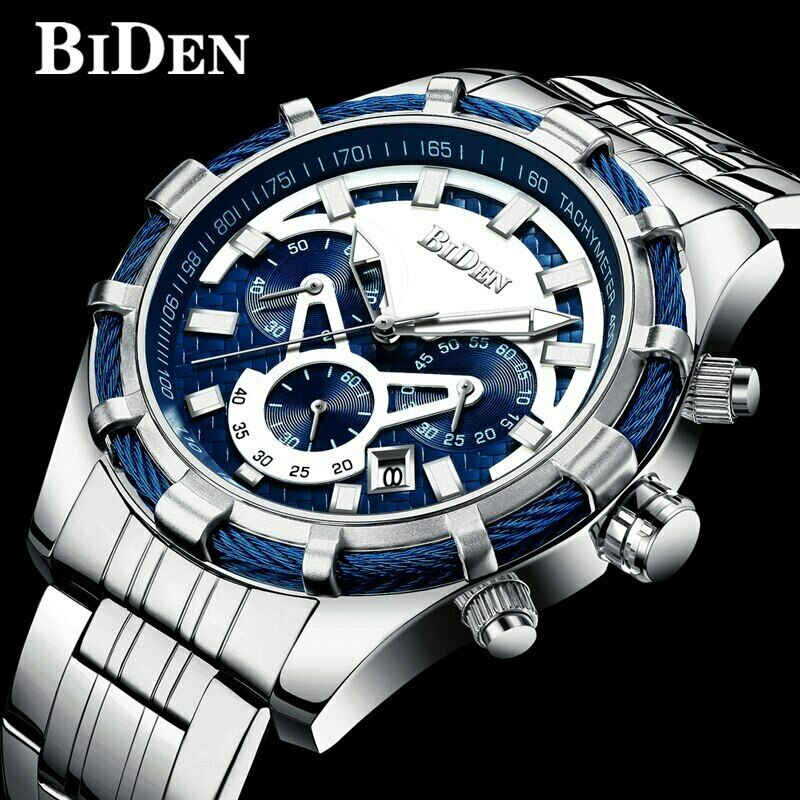 Blue Rope BIDEN Mens Watch Lume Quartz Mvmt Carbon Fiber Textured BIG FACE