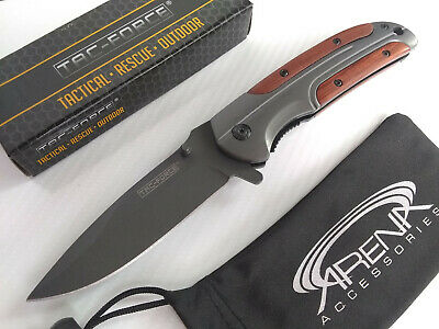 Tac-Force Gentlemans Brown Wood Handle Gray Ti Spring Assisted Pocket Knife Flipper EDC