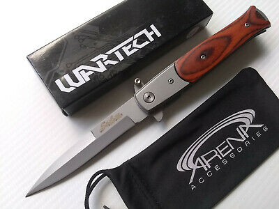 Wartech God Father Style Spring Assisted Stiletto Pocket Knife Pakka Wood Handle EDC