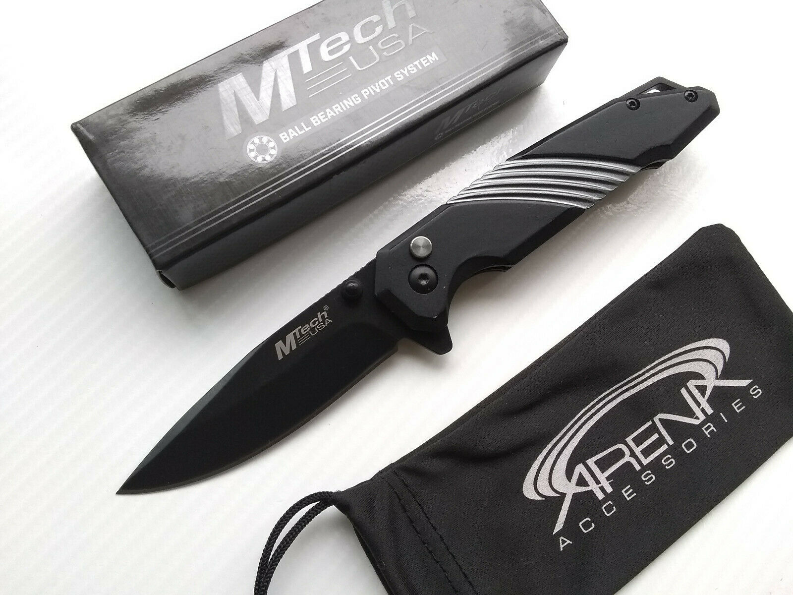 MTech Black & Gray Spring Assisted Button Lock Framelock Flipper Pocket Knife EDC