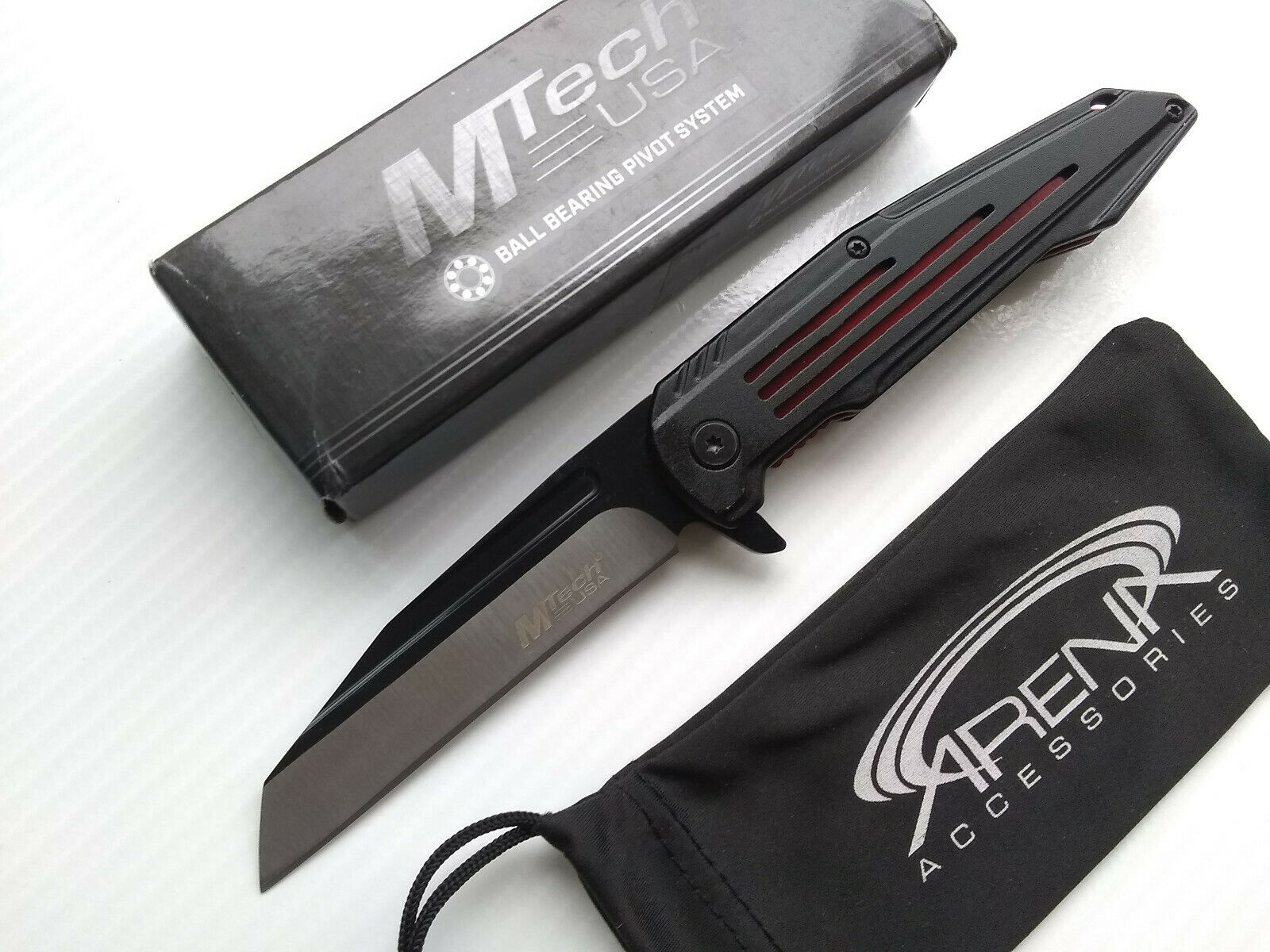 MTech Sheepsfoot Reverse Tanto Spring Assisted Pocket Knife Black Handle Red Ti Liners
