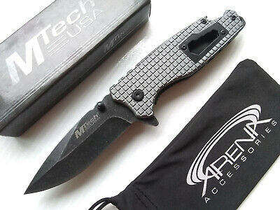 MTech Hex Wrench Bottle Opener Spring Assisted Pocket Knife Gray Grenade Texture EDC