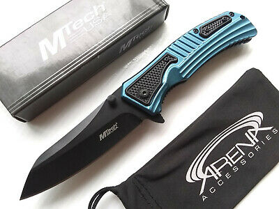 MTech Wharncliffe Reverse Tanto Spring Assisted Pocket Knife Flipper EDC Blue Texture