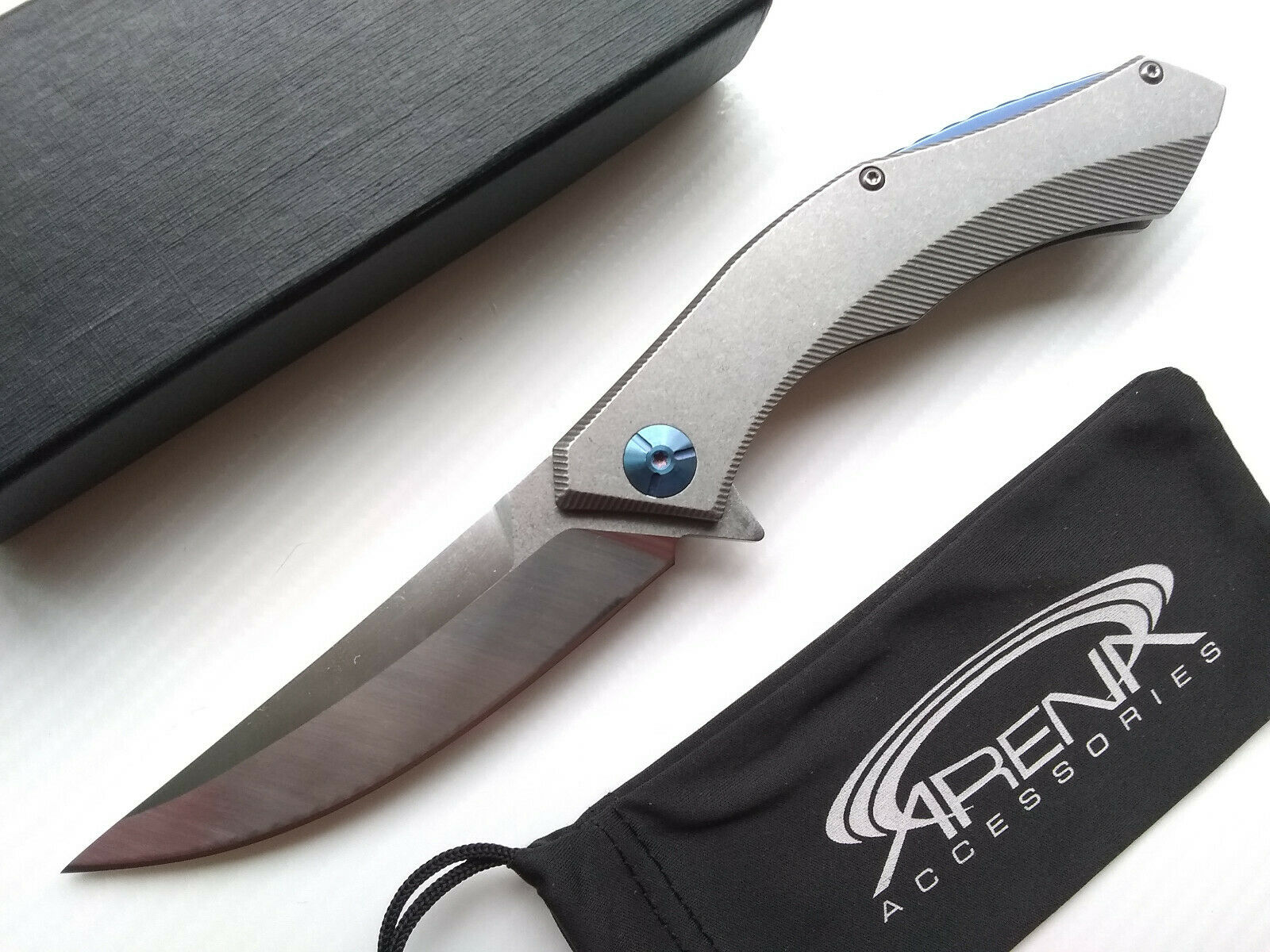 D2 Steel Pocket Knife Manual Open Ball Bearing Pivot Gray Tip Up Carry EDC with Blue Backspacer