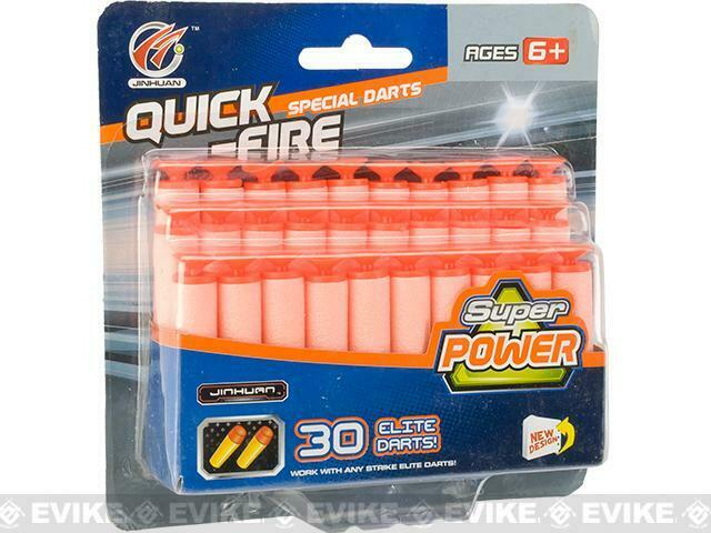 NERF Compatible Elite Series Suction Cup Foam Darts Refill Quick Fire 30 Pack