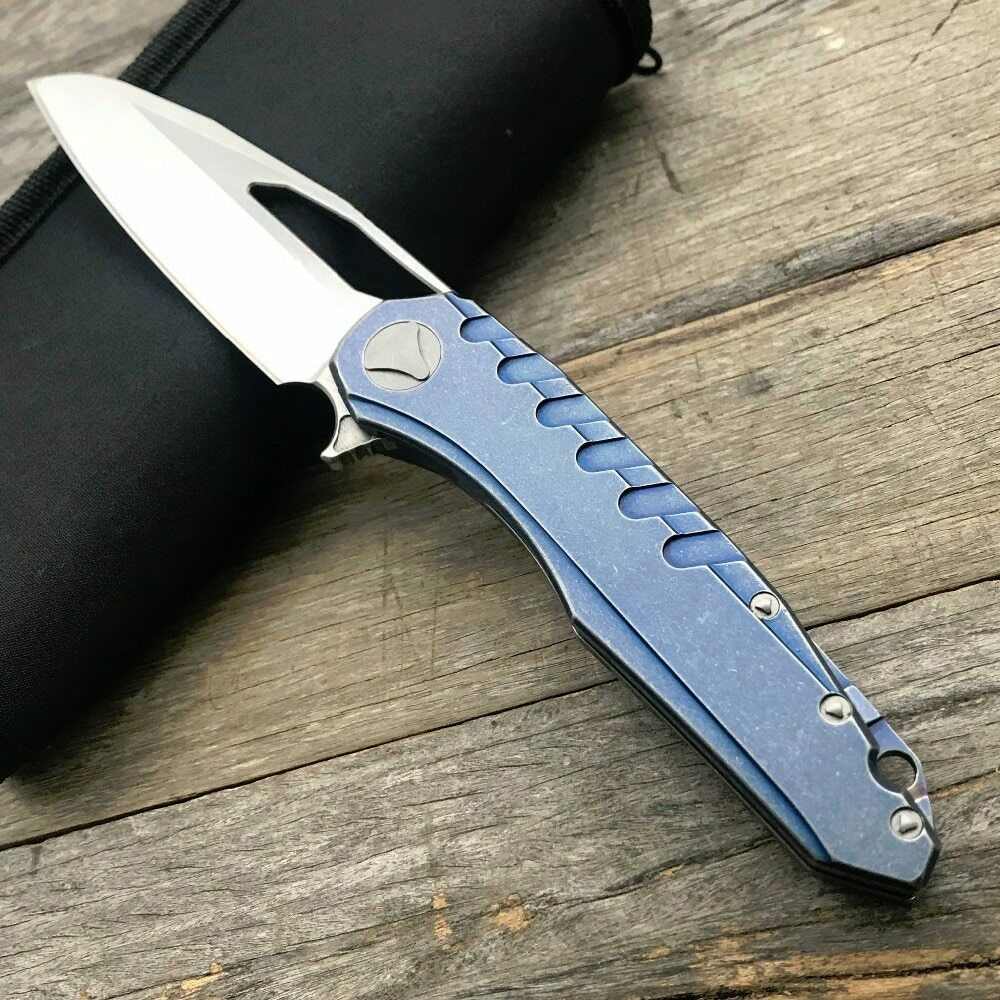 Wharncliffe D2 Steel Manual Open FrameLock Flipper Pocket Knife Blade EDC Ball Bearing Pivot