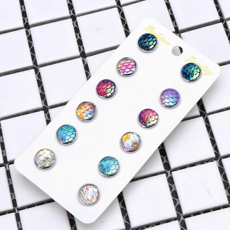 Rainbow Color Changing Mermaid Fish Scale Stud Earrings Beach Ocean Summer 6 Pack