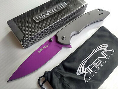 Womens Purple All Metal Spring Assisted Pocket Knife with Dark Gray Handle EDC