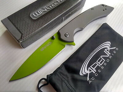 Neon Green All Metal Spring Assisted Pocket Knife with Dark Gray Handle & Lanyard EDC