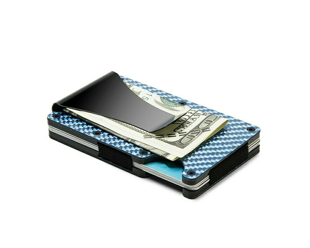 Slim RFID Blue Carbon Fiber Wallet Front Pocket Credit Card Holder & Money Clip
