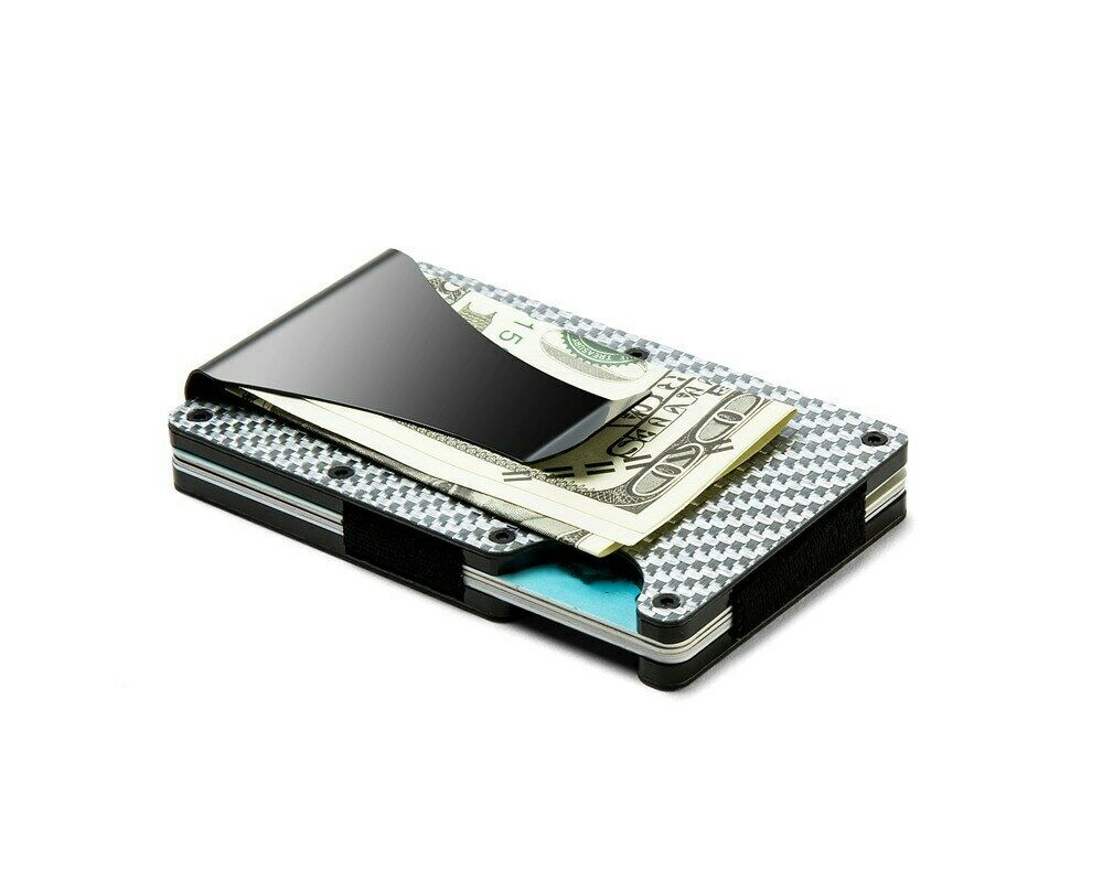 Slim RFID Silver Carbon Fiber Wallet Front Pocket Credit Card Holder Money Clip