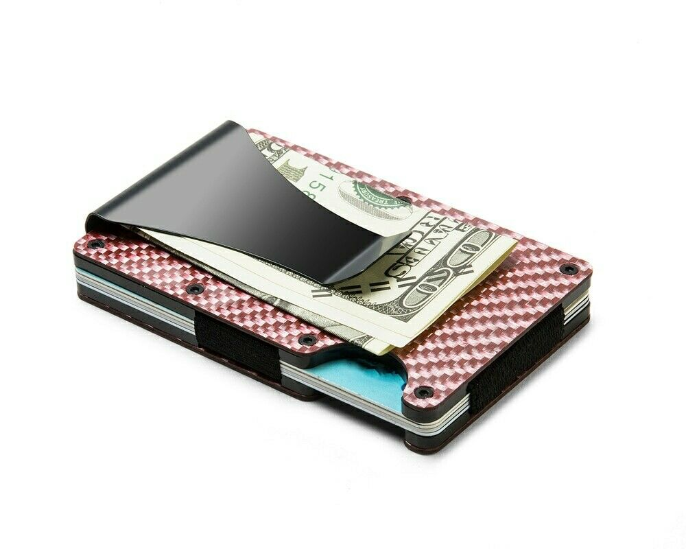 Slim RFID Red Carbon Fiber Wallet Front Pocket Credit Card Holder & Money Clip