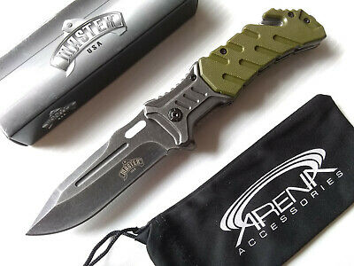 Master USA Green Star Wars Jedi Style Spring Assisted Pocket Knife Stonewashed with Glass Breaker EDC