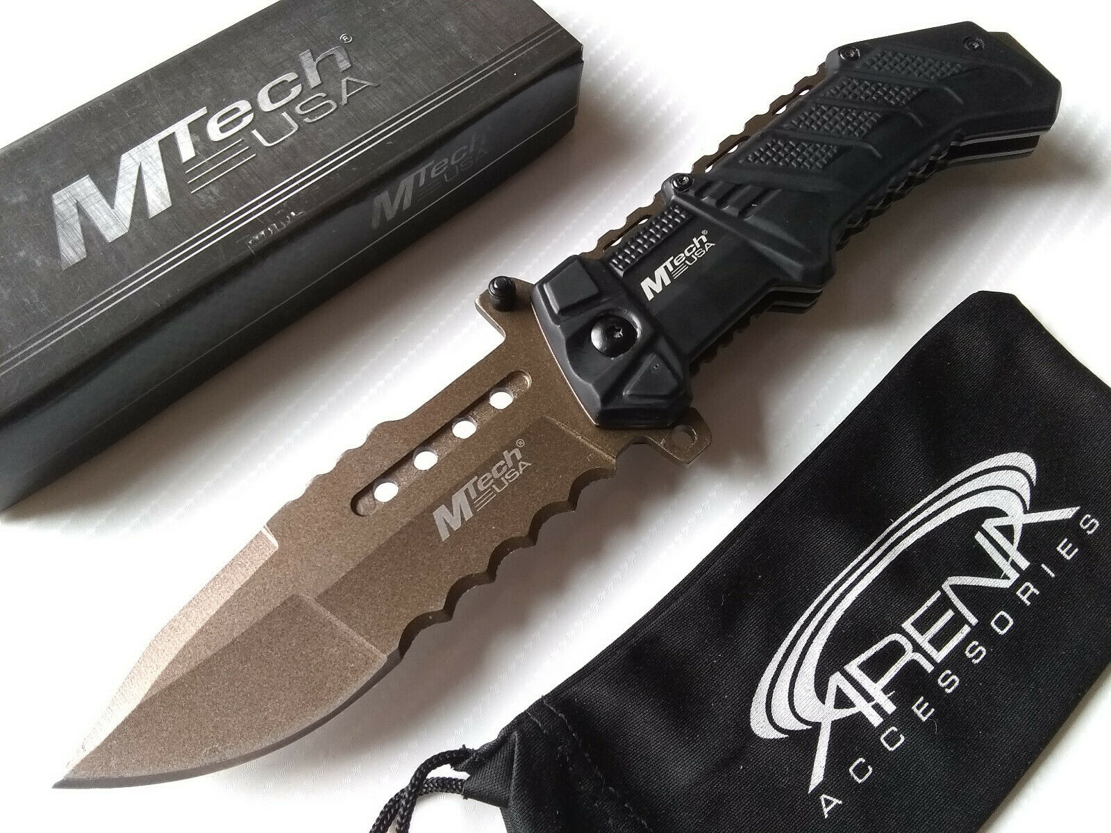 MTech Black Ballistic Tactical Military Spring Assisted Open Pocket Knife with Bronze Ti Coated Blade EDC