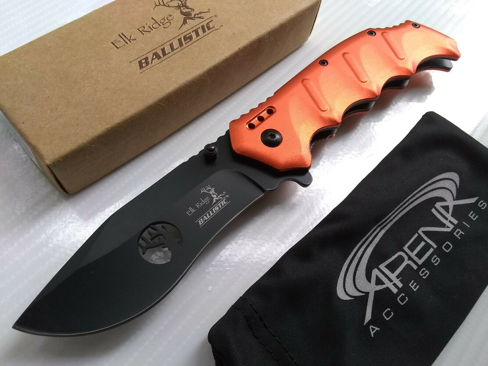 Elk Ridge Orange Spring Assisted Folder Deep Carry Pocket Knife EDC Fine Edge Drop Point