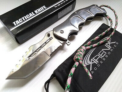Falcon Chrome Silver CSGO Huntsman Tracker  Spring Assisted Pocket Knife EDC Flipper