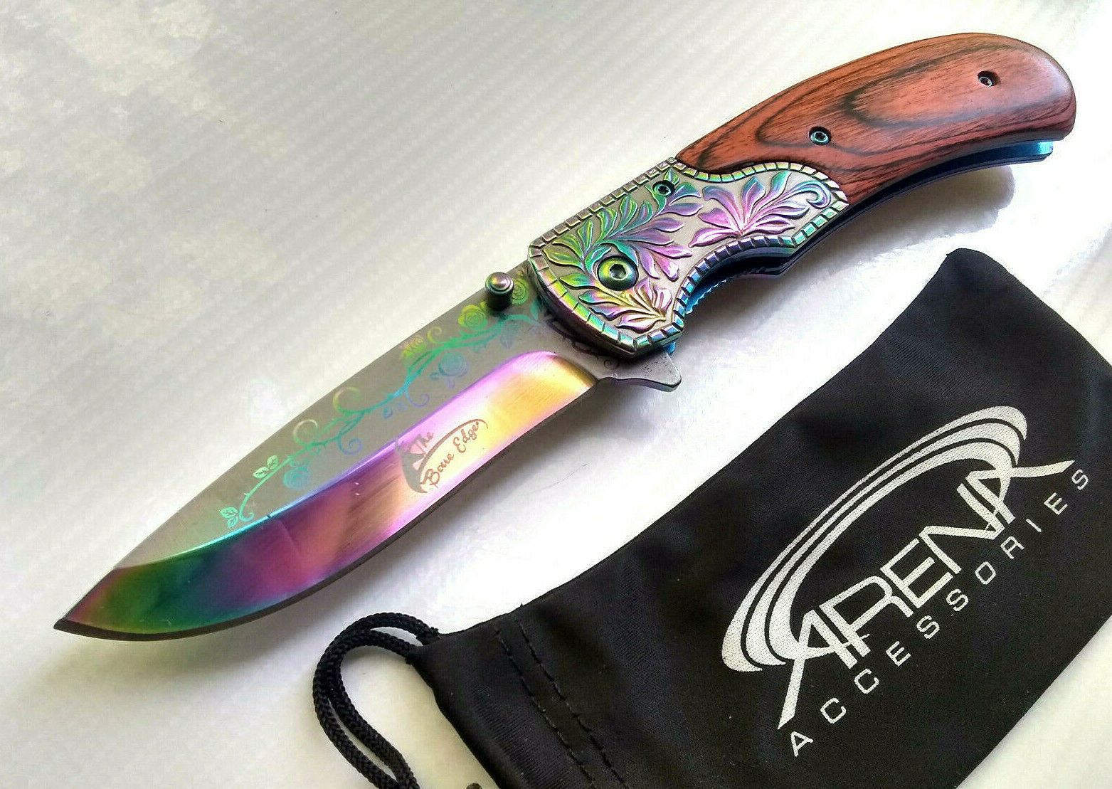 The Bone Edge Gentleman's Rainbow Ti Wood Handle Spring Assisted Open Pocket Knife with Ornate Scrollwork