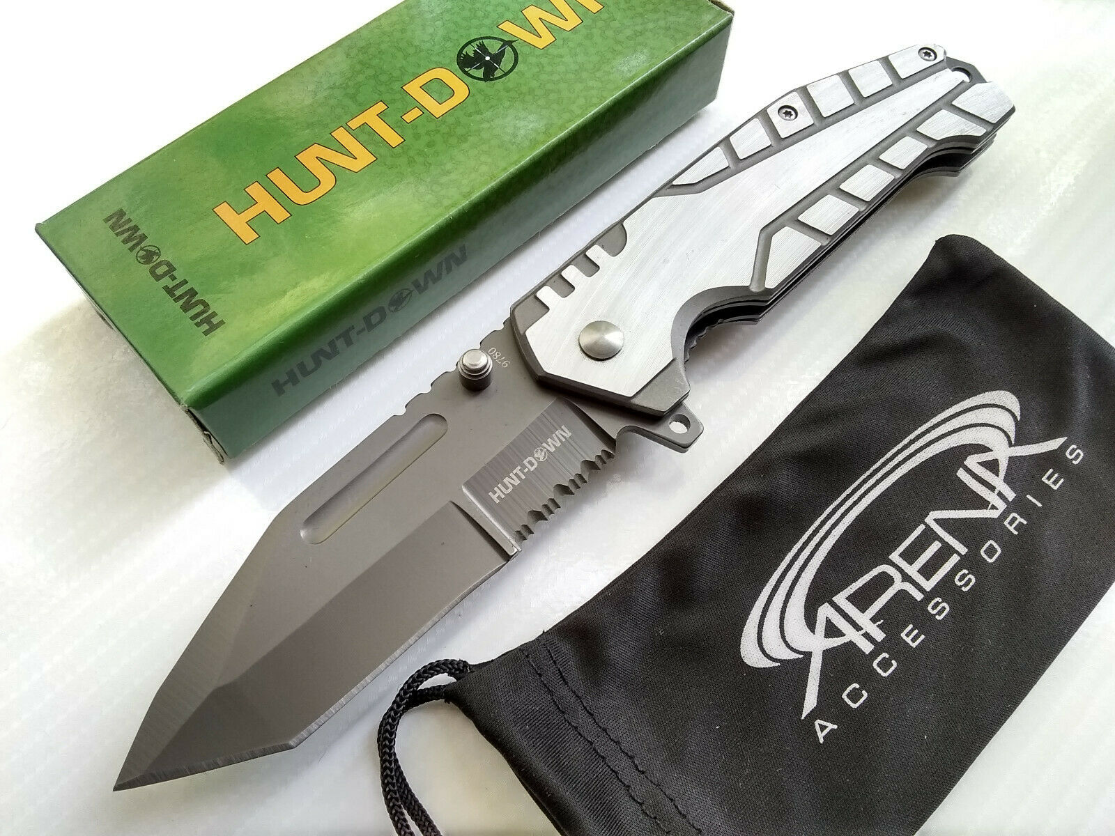 Hunt-Down Partially Serrated Gray Tanto Ball Bearing Pivot Manual Open Pocket Knife EDC
