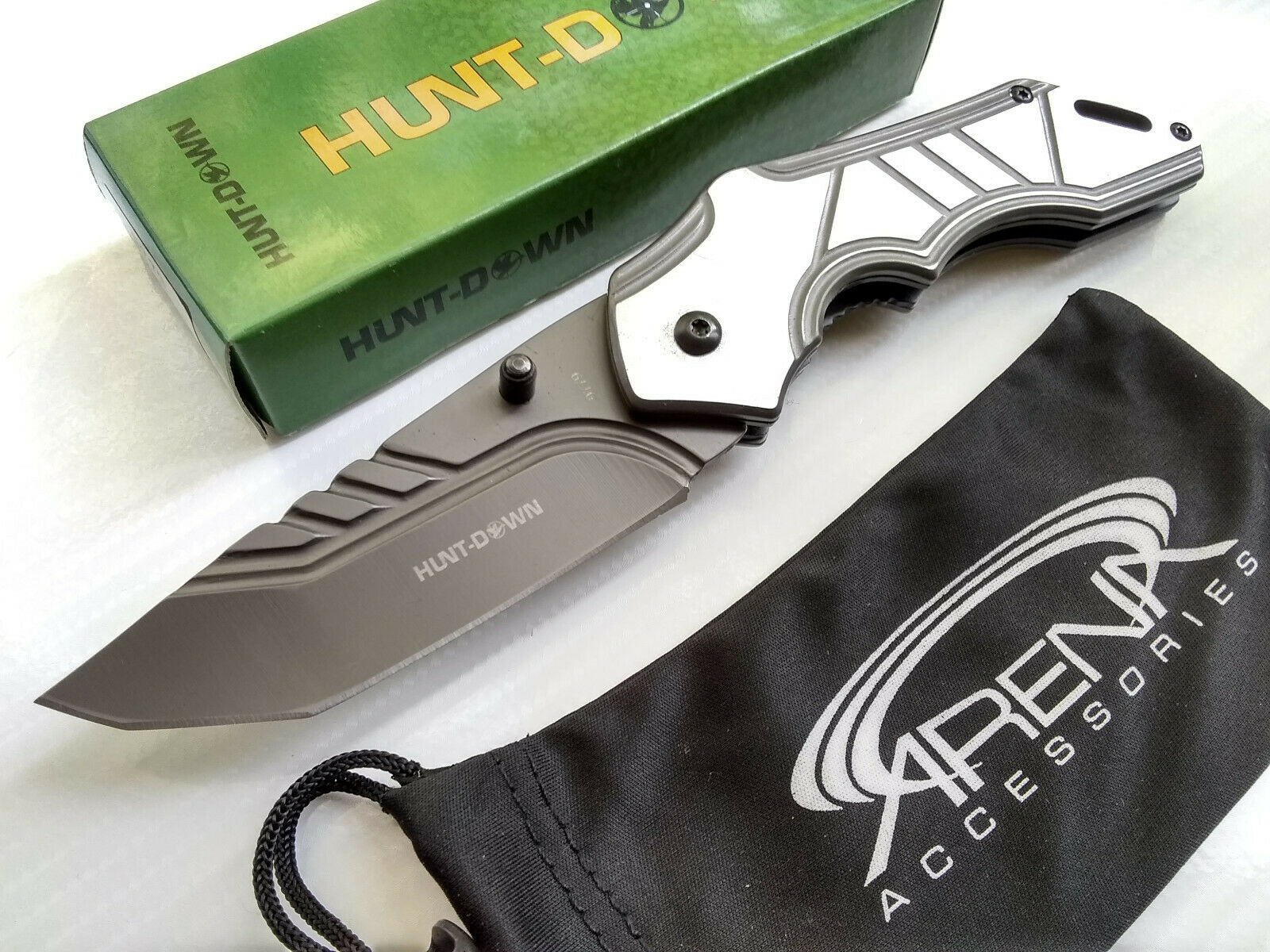 Hunt-Down Tactical Gray Ti Coated Tanto Blade Spring Assisted Pocket Knife Flipper EDC