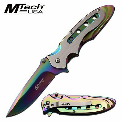 MTech Rainbow Ti Coated Spring Assisted Pocket Knife EDC LinerLock Drop Point Blade