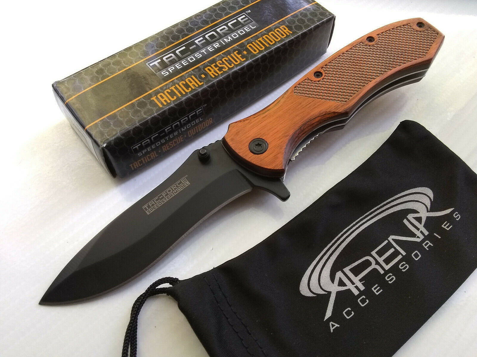 Tac-Force Red Brown Wood Handle Black Blade Spring Assisted Pocket Knife Hunting Legal EDC