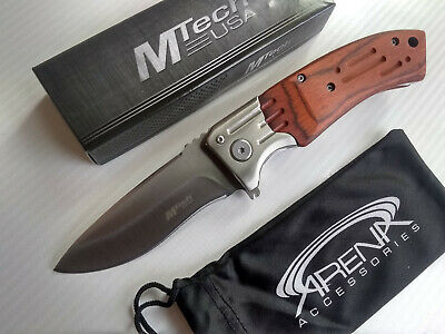 Gentlemans Pocket Knife Brown Wood Handle Spring Assist Legal Carry Satin Blade MTech MT-A853