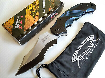 MTech Xtreme Discontinued Blue MX-A801BL Serrated Spring Assisted Pocket Knife Flipper EDC