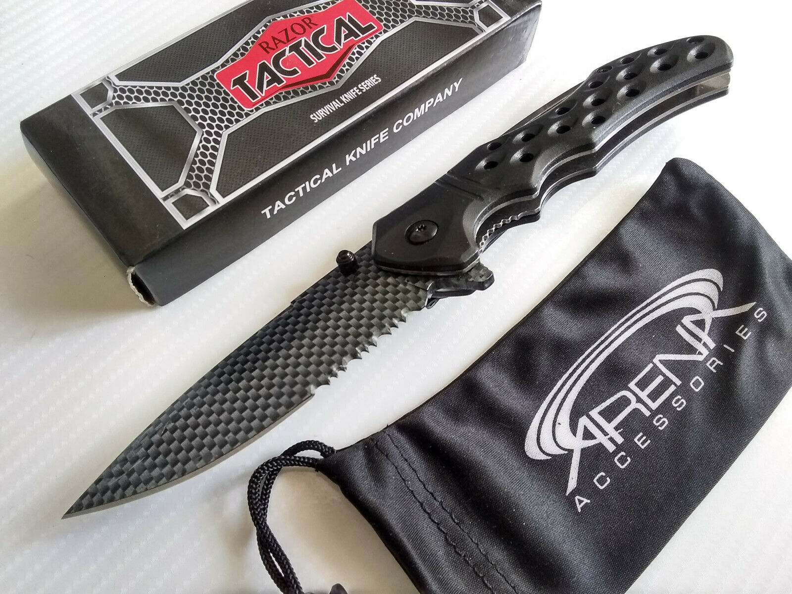 Razor Tactical Discontinued All Metal Black Carbon Fiber Textured Assisted Open Pocket Knife EDC