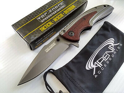 Tac-Force Gentleman's Brown Wood Handle Gray Ti Spring Assisted Pocket Knife EDC Flipper