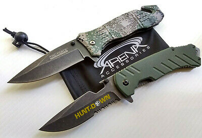Tac-Force Bundle Lot of 2 Army Green Stonewashed Spring Assisted Pocket Knife Flippers
