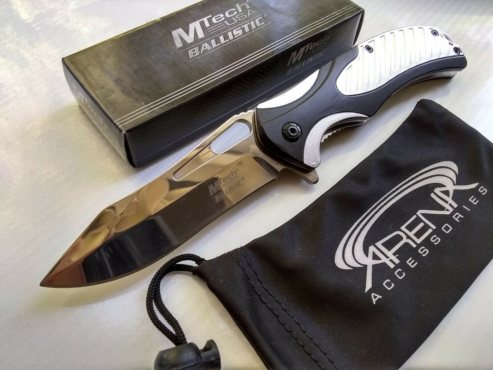 MTech Black & Silver Chrome Ti Coated Blade All Metal Spring Assisted Pocket Knife EDC