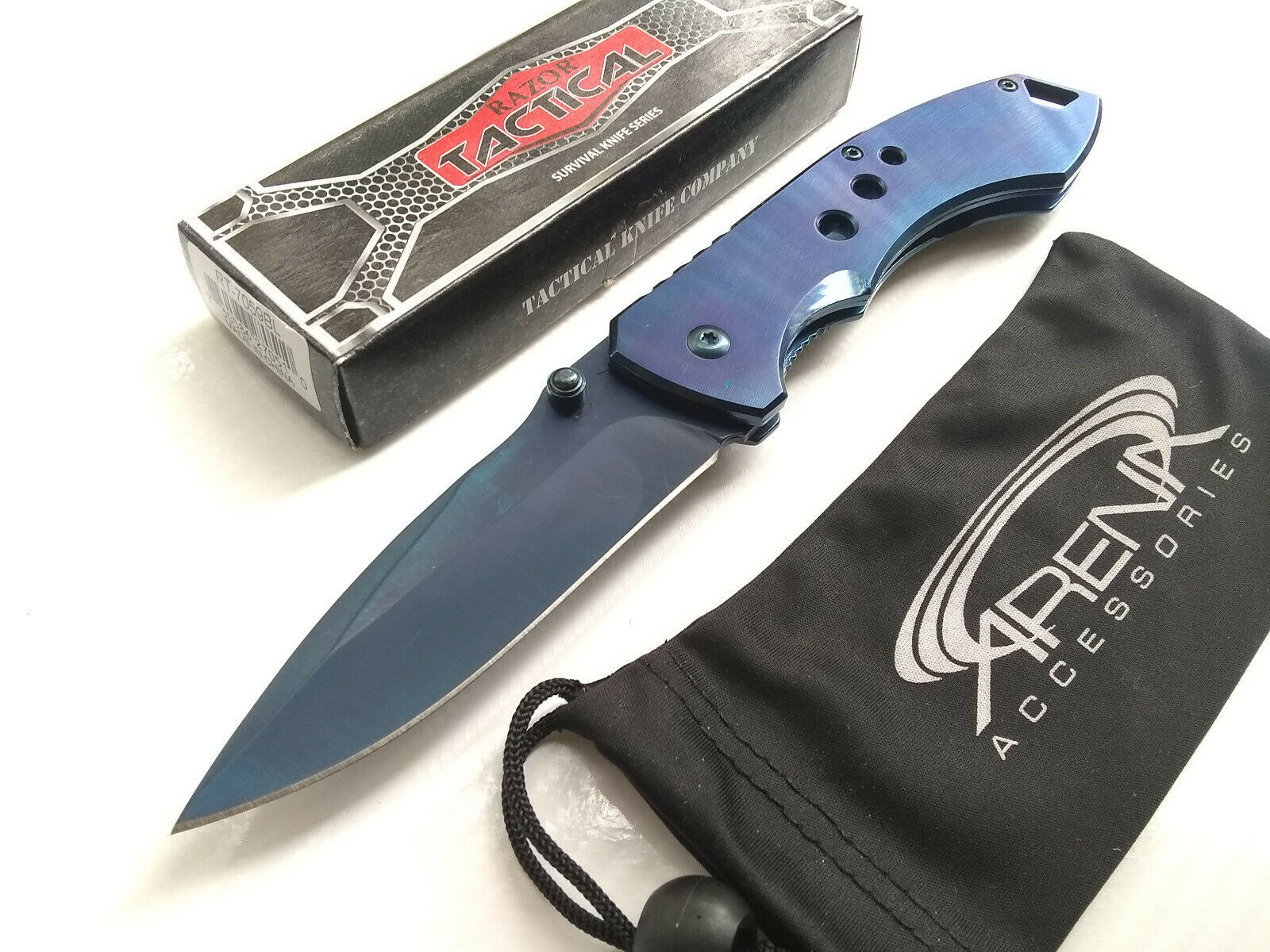 Razor Tactical Rare All Metal Blue Ti Coated Spring Assisted Pocket Knife Frame Lock Flipper EDC