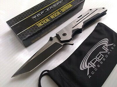 Tac-Force Fine Edge Tanto Spring Assisted Pocket Knife Silver & Black Blade EDC Flipper