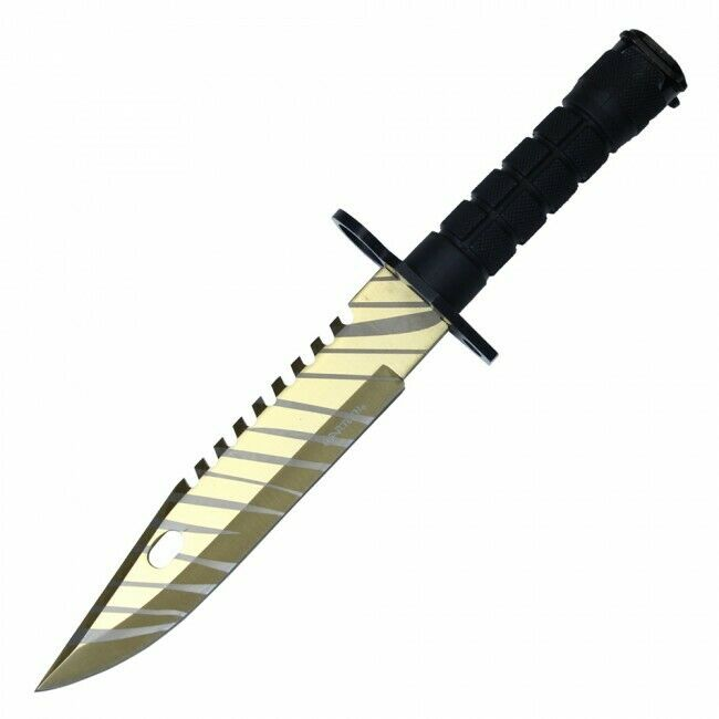 Wartech Gold Tiger M9 Bayonet Bowie Fixed Blade Knife 5mm Thick Bugout Survival 13