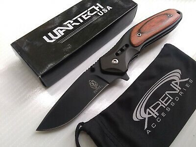 Wartech Black & Wood Handle Black Blade Spring Assisted Pocket Knife EDC Flipper