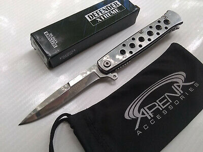 Defender Xtreme Mirrored Chrome Mini Spear Point Spring Assisted Stiletto Style Pocket Knife EDC
