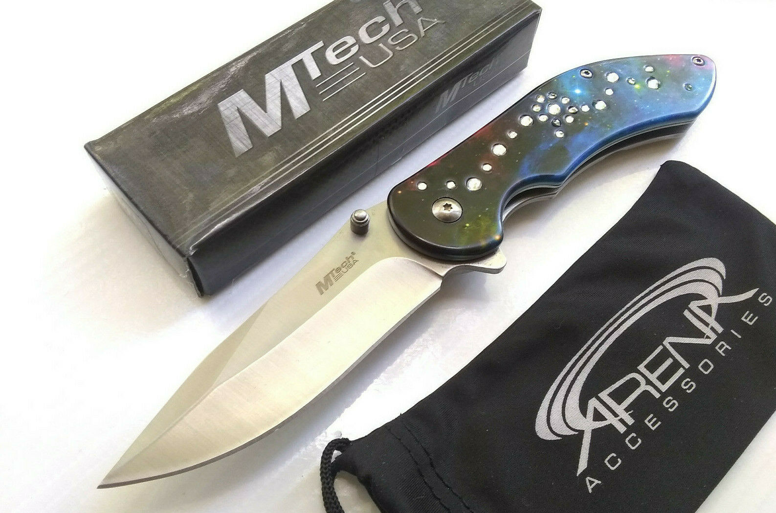 MTech Starry Galaxy Diamond Stone Spring Assisted Pocket Knife FrameLock Flipper EDC