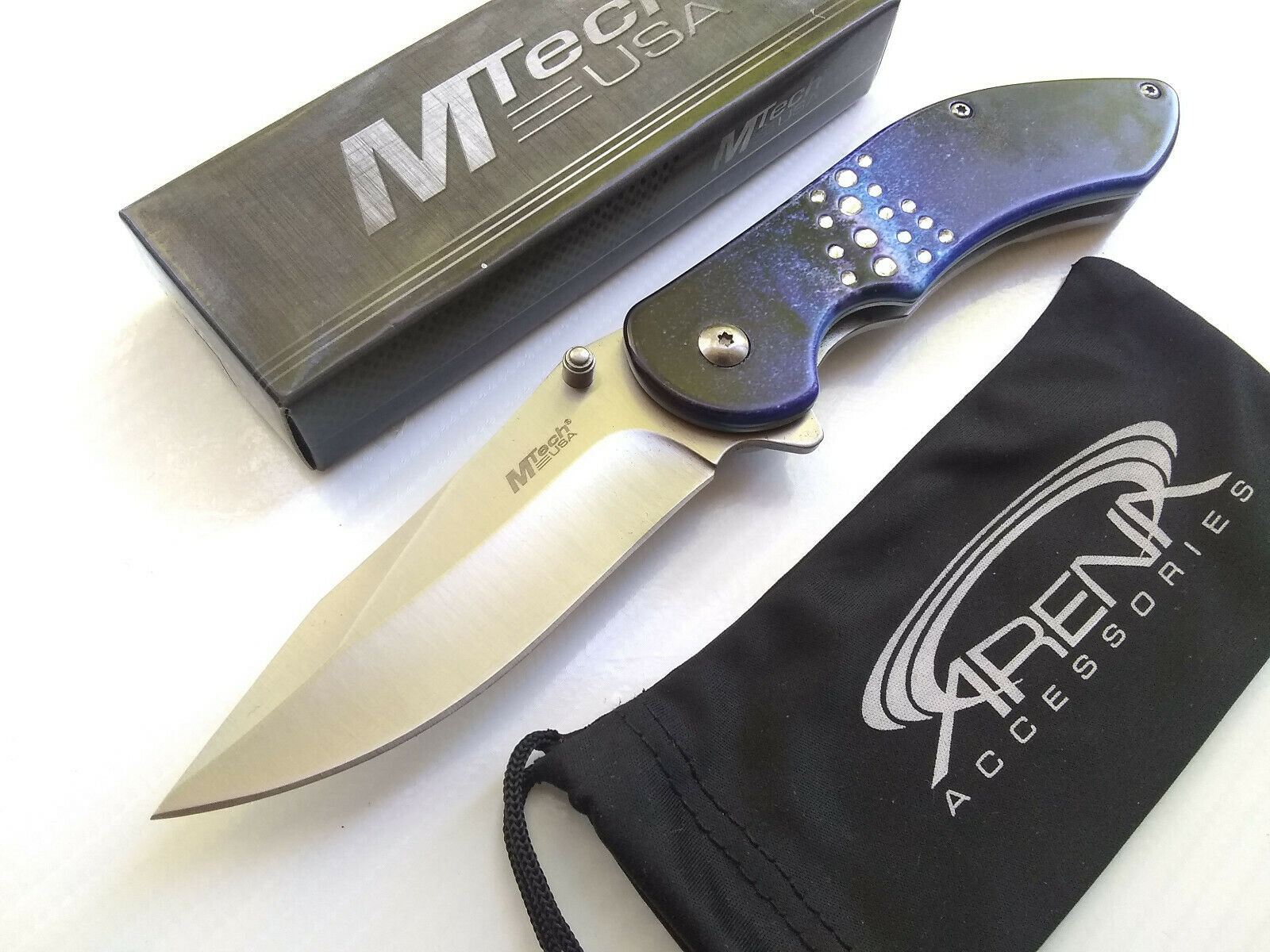 MTech Starry Blue Galaxy Diamond Spring Assisted Pocket Knife FrameLock Flipper EDC